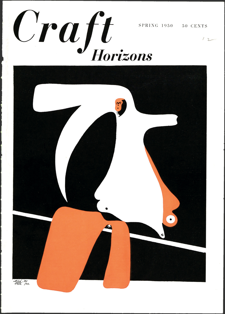 Joan Miró, Cahiers d'Art series, 1936, pochoir, Craft Horizons, Spring 1950, Volume 10, Number 1