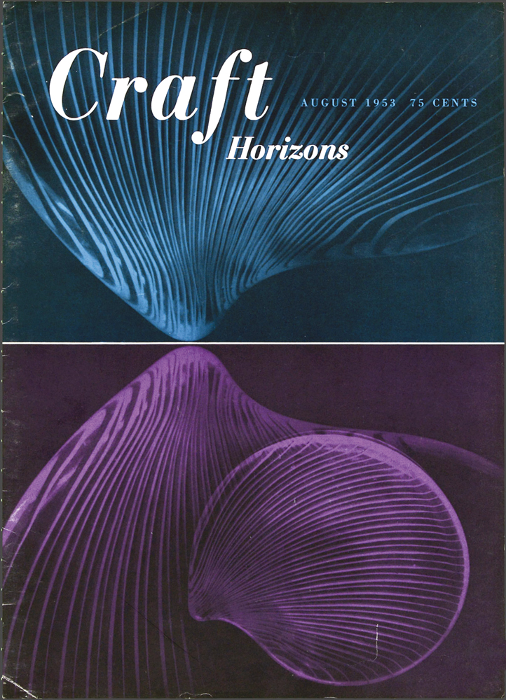 Tapio Wirkkala, Untitled, opalescent glass, Craft Horizons, August 1953, Volume 8, Number 4