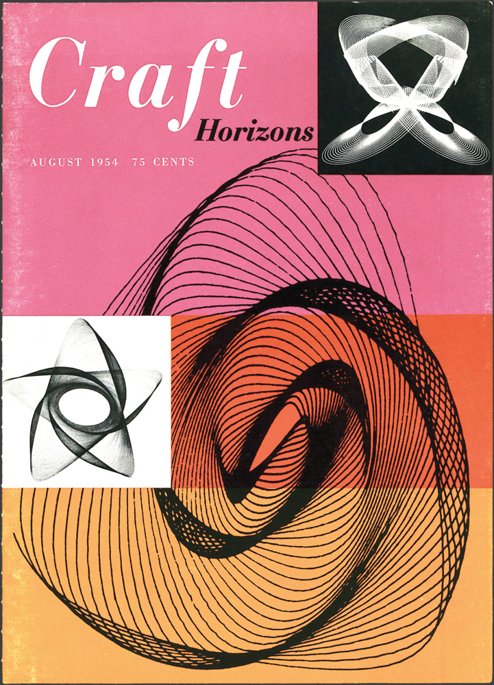 Alfred Gysi, Untitled, Lissajous figures (pendulum drawings), Craft Horizons, August 1954, Volume 14, Number 4