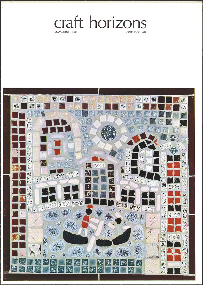 Omero Fromboluti, Untitled, c. 1963, ceramic tile, glass tile, white mastic, 12 x 12 in., Craft Horizons, May/June 1963, Volume 23, Number 3