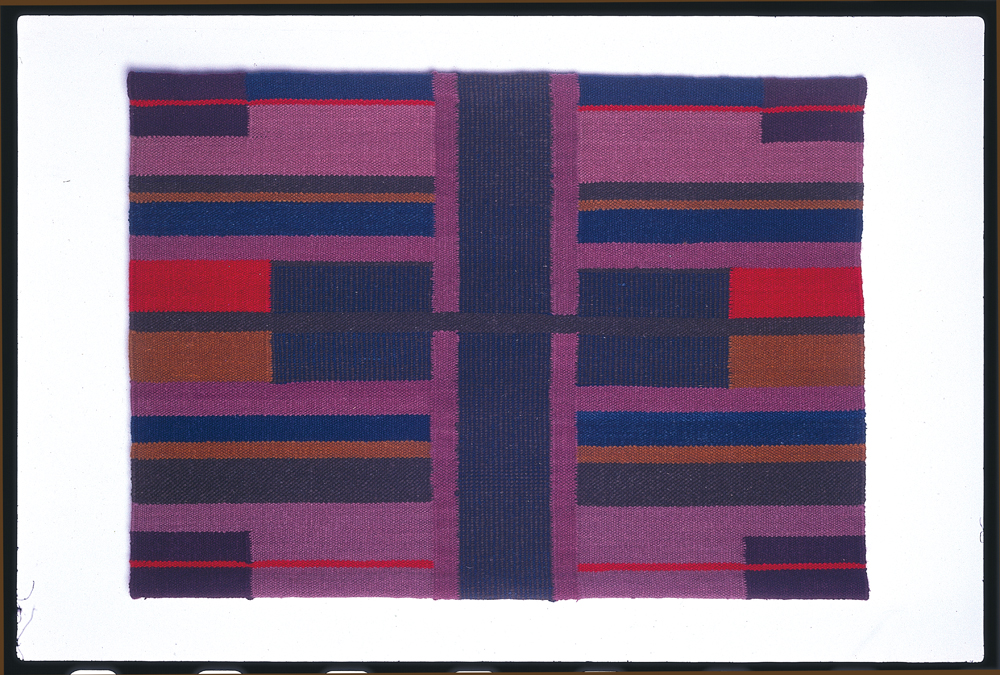 Alice Kagawa Parrott, Chief Pattern, 1974, wall rug tapestry with linen, wool, vegetable- and animal dyed-yarns, 35 x 49.5 x .625 in.  Alice Kagawa Parrott Artist File, the American Craft Council Library & Archives, Minneapolis, MN