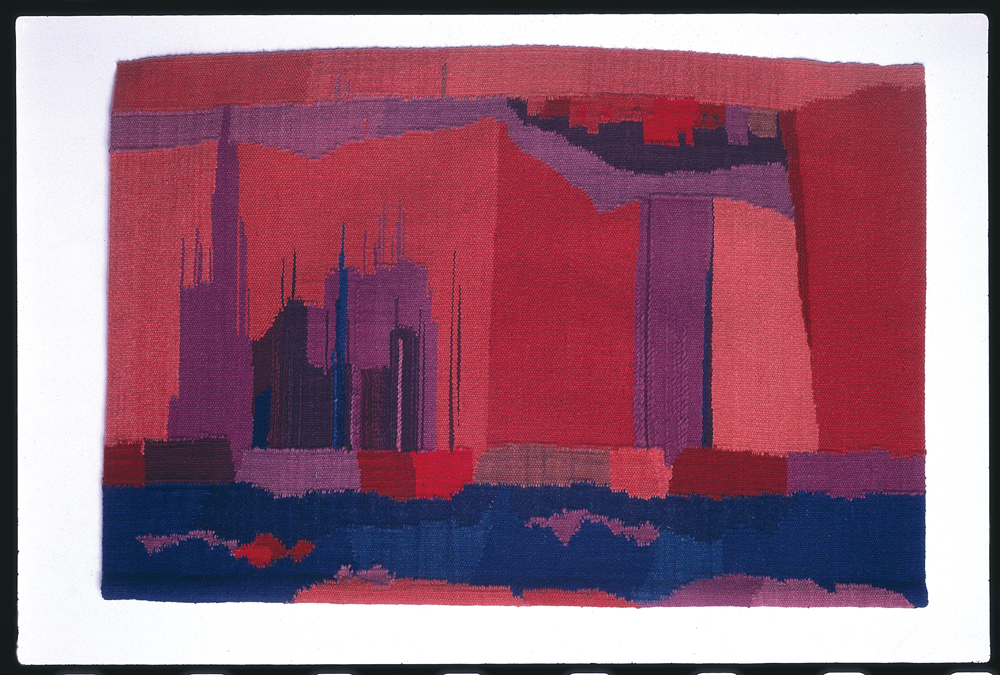 Alice Kagawa Parrott, Cliff Dwelling, 1973, wall rug tapestry with linen, wool, vegetable-dyed yarns, 68 x 40 x .5 in.  Alice Kagawa Parrott Artist File, the American Craft Council Library & Archives, Minneapolis, MN