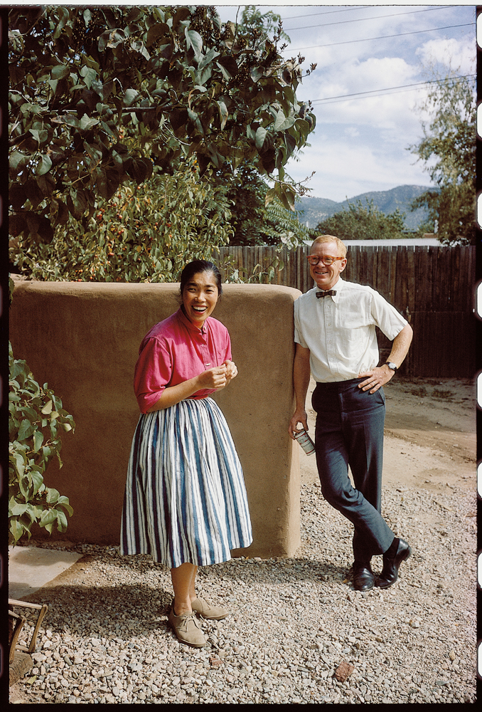 Todd Webb, Alice with friend [possibly Robert G. Harris], 1963, color slide.  Alice Kagawa Parrott Artist File, the American Craft Council Library & Archives, Minneapolis, MN