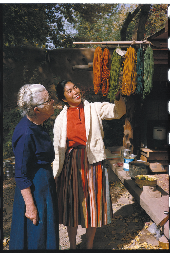 Todd Webb, Alice with Mabel Morrow Looking at Dyed Yarns, 1963, color slide.  Alice Kagawa Parrott Artist File, the American Craft Council Library & Archives, Minneapolis, MN