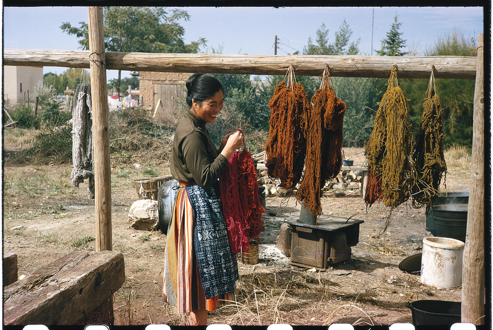 Todd Webb, Alice with yarn drying, 1963, color slide  Alice Kagawa Parrott Artist File, the American Craft Council Library & Archives, Minneapolis, MN
