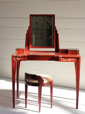 A vanity and stool of padauk and holly by Virginia Blanchard.Courtesy of Virginia Blanchard