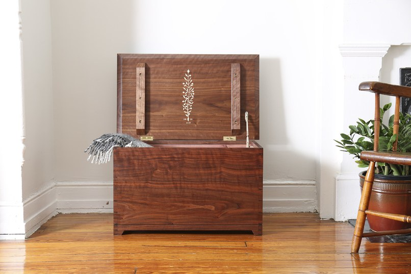 Jeremy Zietz's Enfield Blanket Chest is crafted of black walnut lined with cedar.Courtesy of Jeremy Zietz
