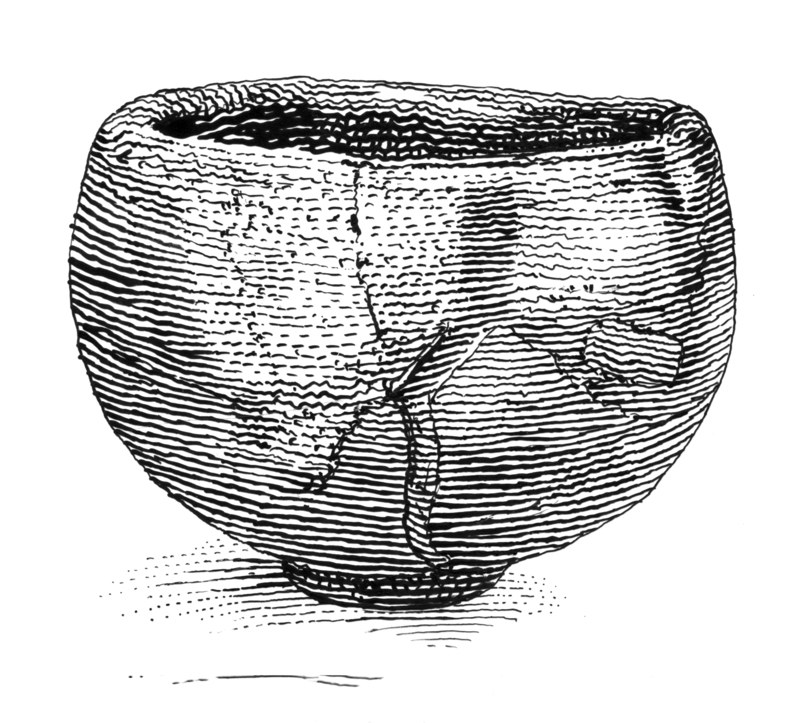 """Seppo (""""Snow Peaks""""), a legendary 17th-century Japanese tea bowl poetically named for the evocative shape of the highlighted cracks in its artful repair. Adamson writes of the Japanese art of  kintsugi, which uses gold in such repairs to symbolize the inherent value in beloved, well-used objects.Drawing: Polly Becker, 2018/ Courtesy Bloomsbury Publishing"""