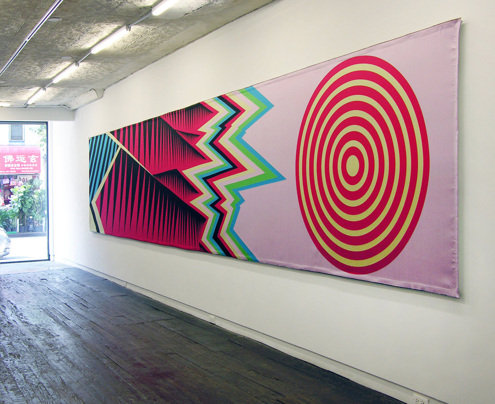 """Liz Collins, """"Zagreb Mountain Scroll"""" (2018) Jacquard woven silk and polyester textile on stretcher (306 x 61x 2 inches) (All images courtesy of LMAKGallery, NY)"""