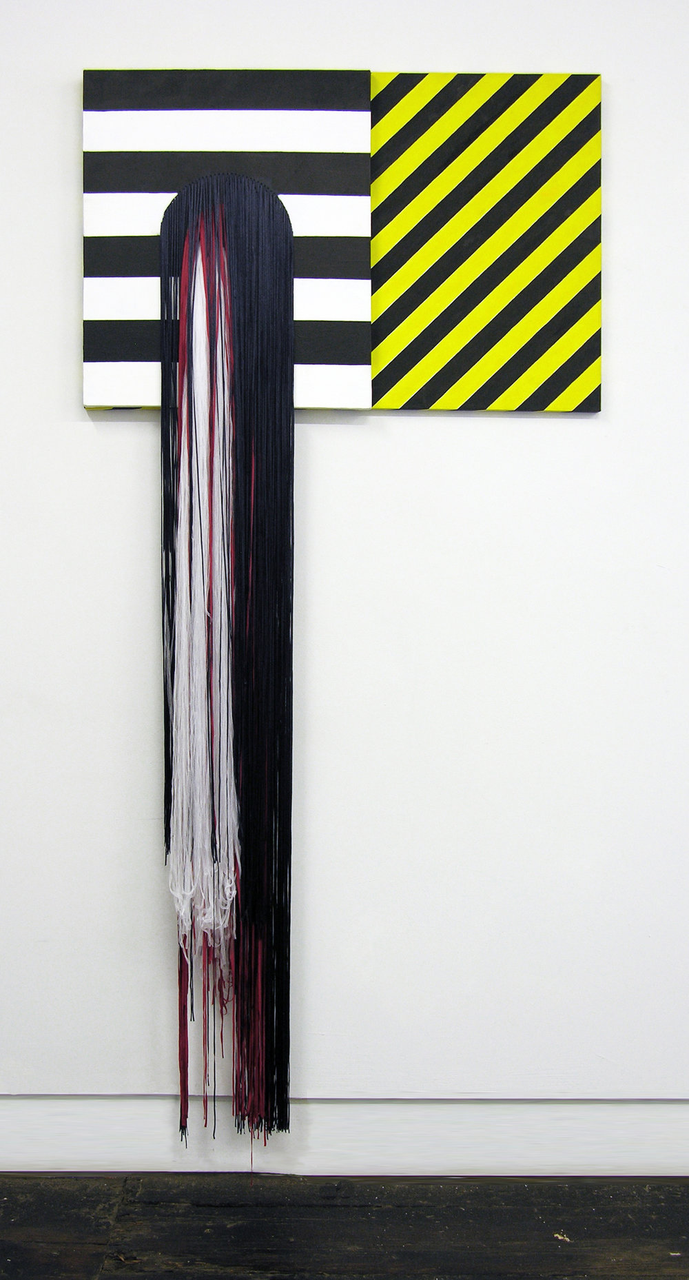 """Liz Collins, """"Equilibrium"""" (2018) Acrylic on canvas with stitched rayon and polyester yarns, 36 x 76 inches"""