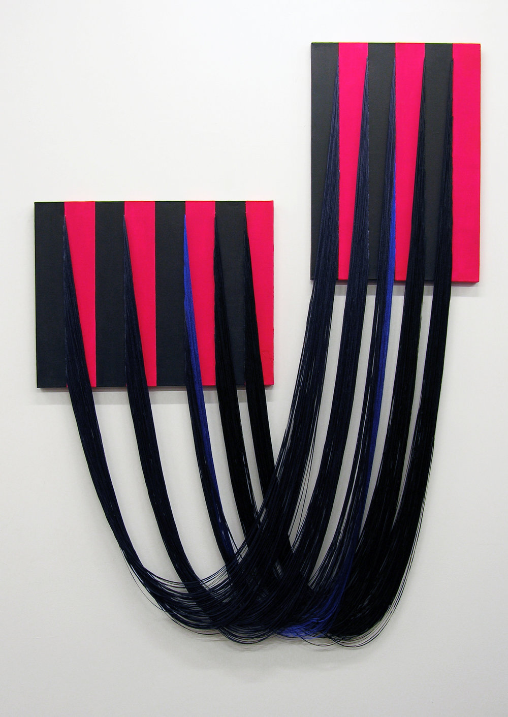 """Liz Collins, """"Partners"""" (2018) Acrylic on canvas with stitched rayon yarn"""