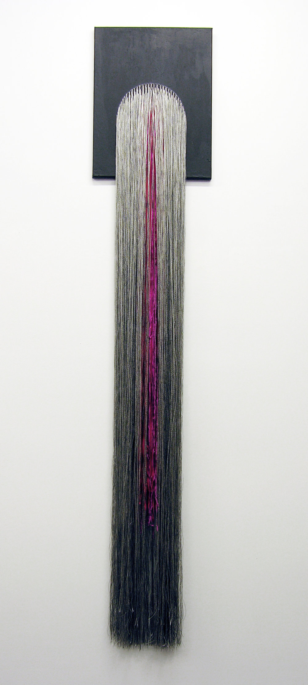 """Liz Collins, """"Spirit Spout"""" (2018) Acrylic on canvas with stitched rayon, PVC, lurex, and polyester yarns (16 x 95 inches)"""