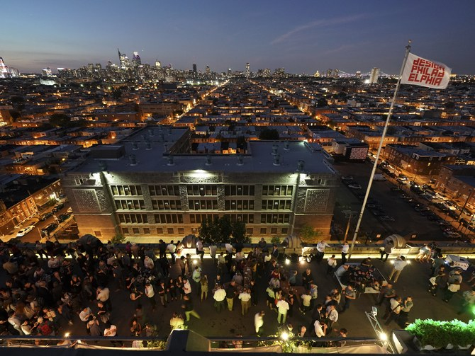 An aerial view of the DesignPhiladelphia kickoff party at the Bok Bar on the rooftop of the Bok Building. Photo: Joe Kaczmarek