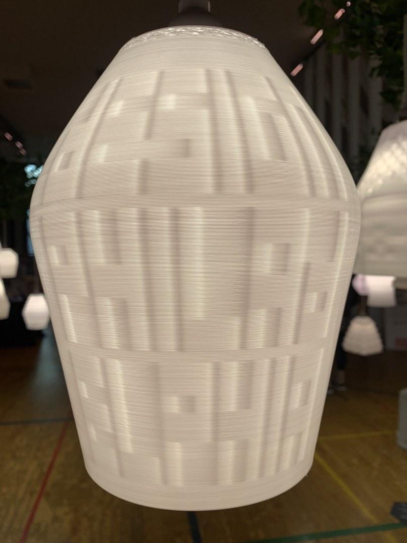 "Custom 3D-printed DesignPhiladelphia logo lamp, part of the ""All of the Lights"" exhibit by Budmen Industries. Photo: DesignPhiladelphia"