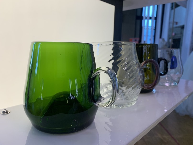 A sampling of Remark Glass mugs made from repurposed glass bottles using traditional glass-blowing techniques. Photo: DesignPhiladelphia