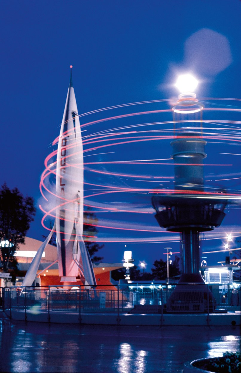 Fourteen years before actual astronauts would visit the Moon, the Rocket to the Moon and Astro-Jets attractions offered Tomorrowland guests the simulated thrill of blasting into space. Courtesy Disney Enterprises, Inc.