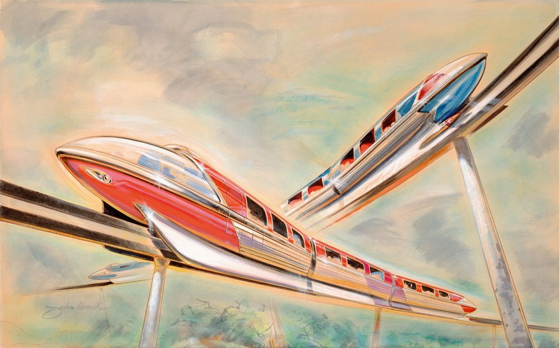 "The Monorail was the first of its kind in the Western Hemisphere and was intended as a realistic preview of transportation in tomorrow's cities. One of the designers of the Monorail, John Hench, said the modes of transportation at Disneyland not only needed to look good in appearance but also be ""a pleasure to watch in action."" (art, Bob Gurr and John Hench, circa 1959) Copyright © 2018 Disney Enterprises, Inc."
