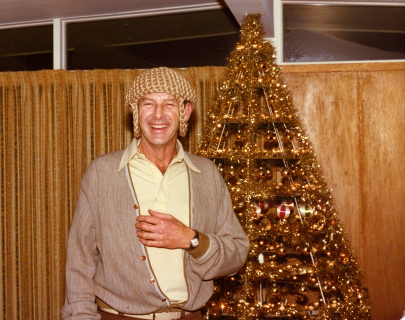 Lawrence Stoecker poses with one of his early Modern Christmas Trees. Photograph courtesy of Modern Christmas Trees