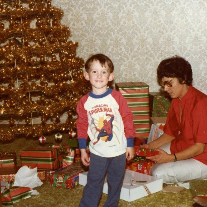 Matt Bliss, shown in the late 1970s with his grandfather's earlier version of the tree. Photograph courtesy of Modern Christmas Trees