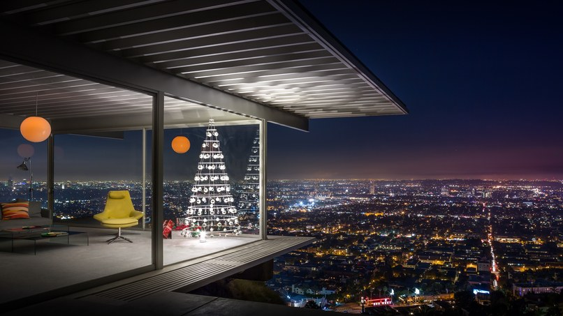 A Modern Christmas Tree shown inside Case Study House #22, the Stahl House, designed by Pierre Koenig in 1959. Photograph by J.C. Buck/Courtesy of Modern Christmas Trees