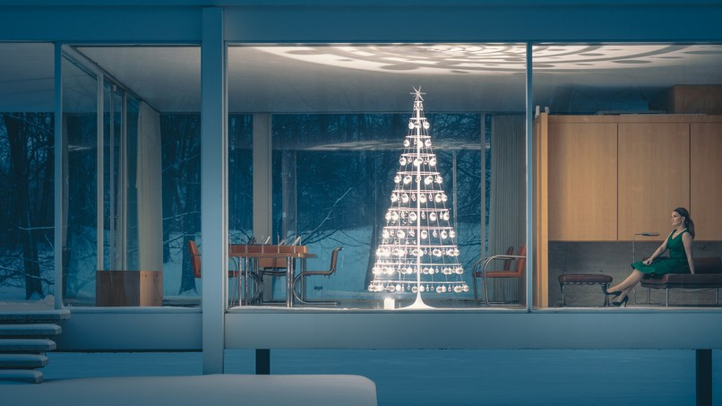 A Modern Christmas Tree shown inside the Farnsworth House designed by Mies van der Rohe in 1951. Photograph by J.C. Buck/Courtesy of Modern Christmas Trees