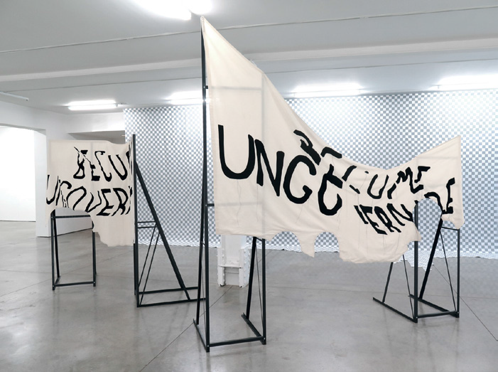 FIG. 9 – Ungovernable (Hoist)  (foreground), 2017, sewn muslin and steel armatures. Collection of the artist and courtesy RYAN LEE Gallery, New York