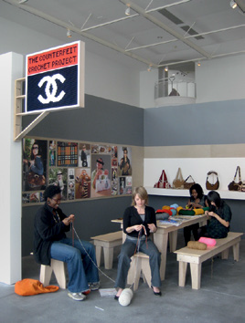 FIG. 14 – The Counterfeit Crochet Project (Critique of a Political Economy) , 2008, installation and participatory work- shop that traveled to Beijing, Istanbul, Manila, Milan, Berlin, Karlsruhe, Gothenburg, Los Angeles, New York, Milwaukee, Jönköping, and San Francisco