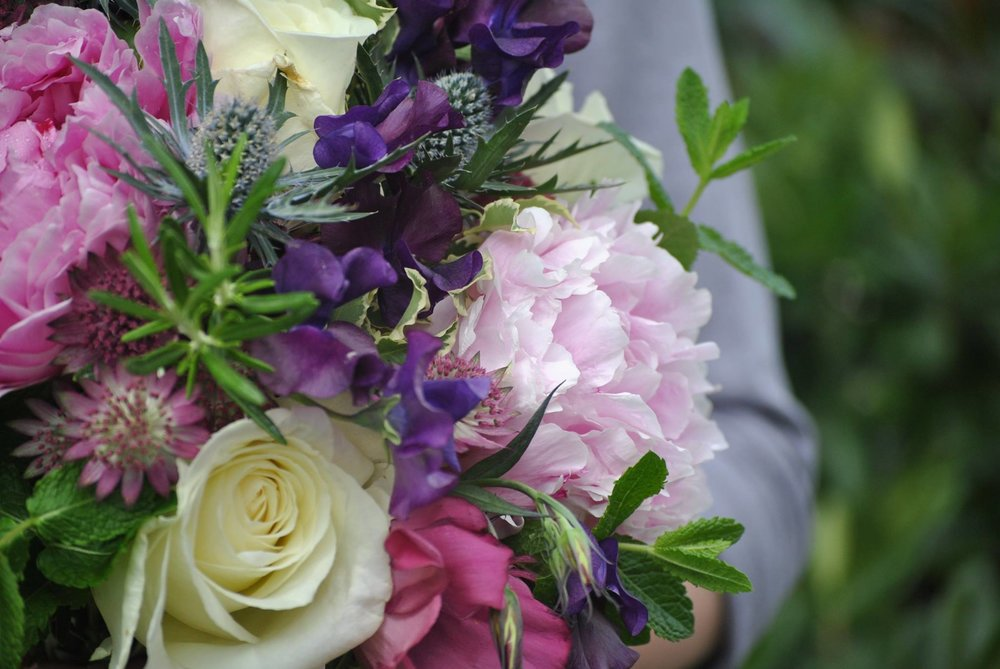These Sarah Bernhardt peonies took pride of place in one of my first even wedding bouquets - this one smelt divine with herbs and sweet peas scattered throughout.