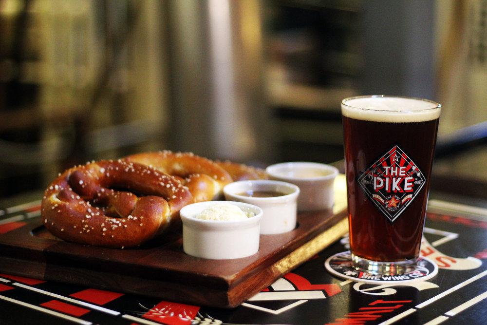 pretzel platter and a Pike Kilt Lifter scotch ale
