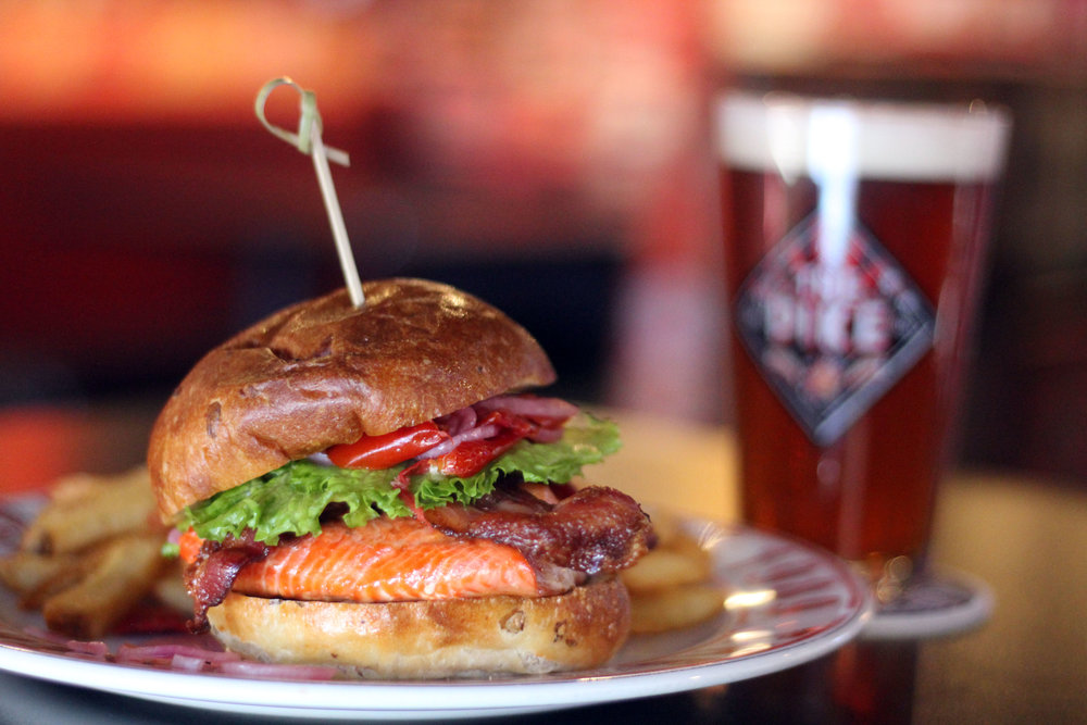 Salmon BLT and beer