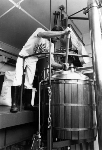 First brewer, Jason Parker, at the mash tun.