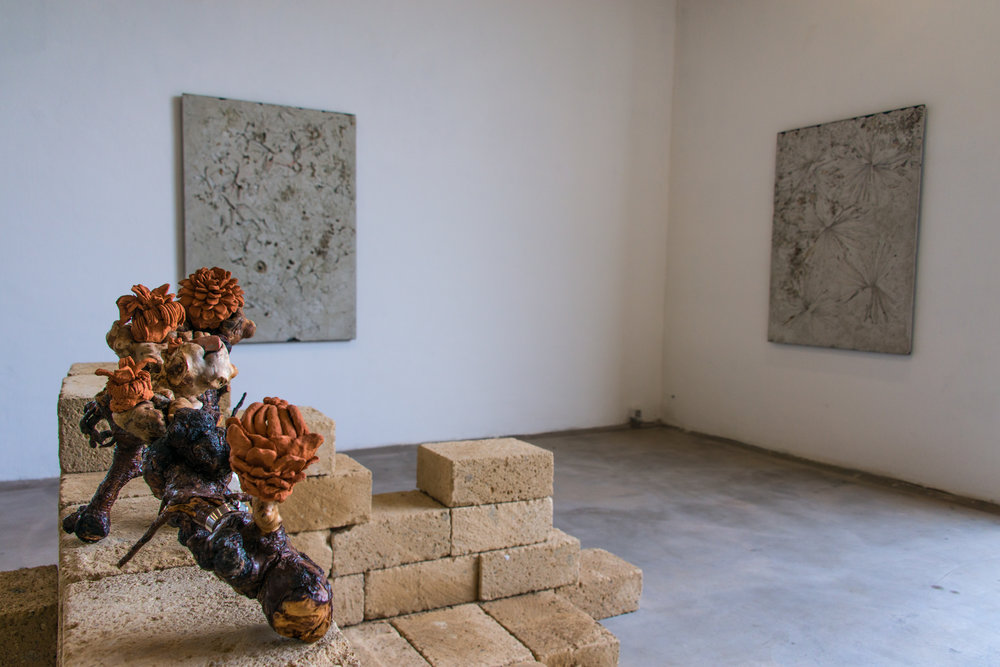 Installation view of  Nuova Terra Antica  at La Vallonea Works by Benedetto Pietromarchi and Alessandro Piangiamore