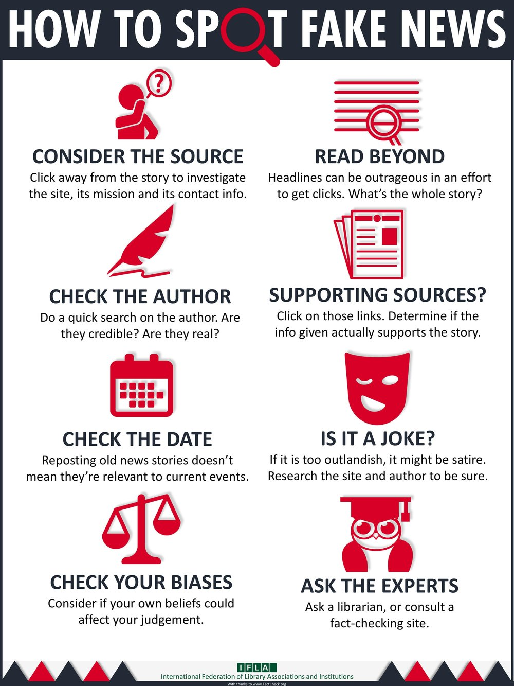 """Critical thinking is a key skill in media and information literacy, and the mission of libraries is to educate and advocate its importance,"" according to the International Association of Library Associations and Institutions. They encourage us all to share this infographic."