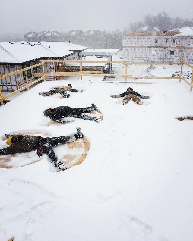 The Sierra Snow Angels taking a well deserved break from framing one of our beautiful custom chalets in Collingwood.  Winter is already well underway for our Northern Division, and will be here any day for our guys working in #toronto. · · · #sierracustomhomes #architecture #interiorstyle #interiordesign #architecturelovers #customhome #customchalet #collingwood #alpine #alpineskiclub #housetout #custom #design #archilovers #chalet #dreamhome #realestate #details #safetyfirst #torontocustomhomes #torontobuilder