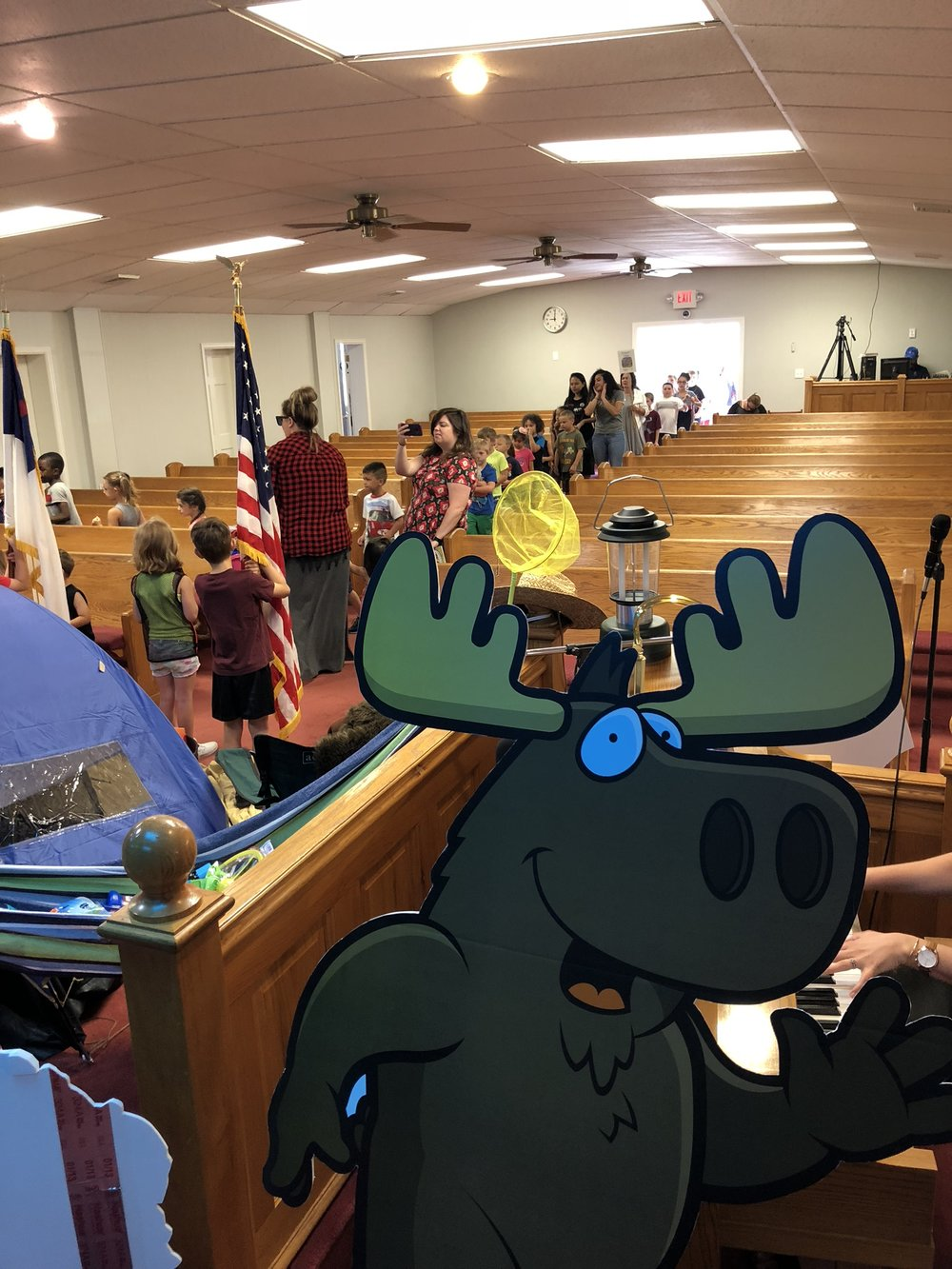 Every morning campers at Camp Moose on the Loose march in to the auditorium to start the day! -