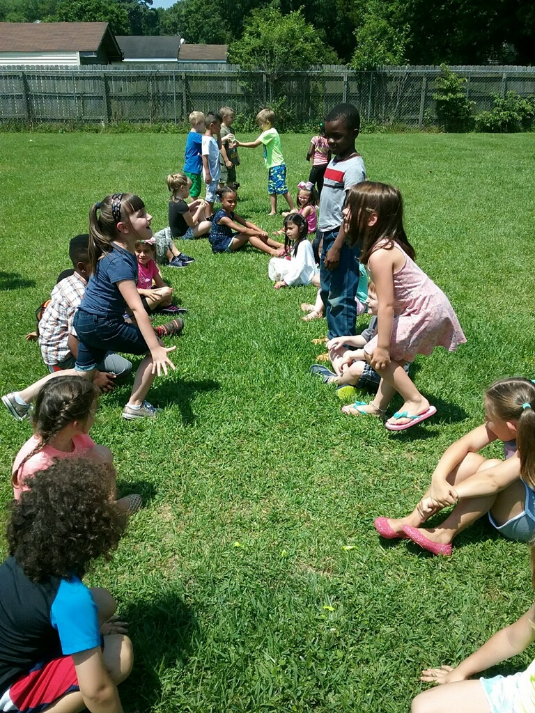 - Campers enjoyed playing outside during their sports time.