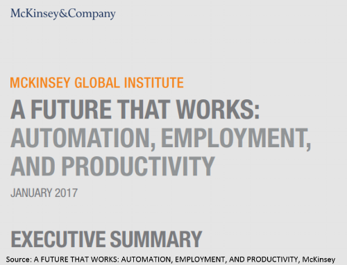 McKinsey&Company - A future that works: Automation, employment, and productivity   McKinsey sees the world confronted with a wave of automation driven by robotics, artificial intelligence and machine learning. In many areas machines already outperform humans What role will people play in this new world?