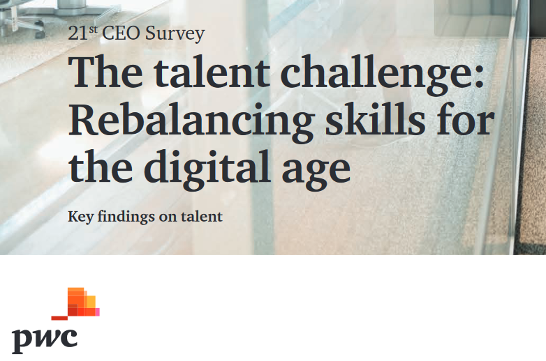 PWC - The talent challenge: Rebalancing skills for the digital age   The digital economy is transforming the workforce. Skills that were needed a decade ago might be less important today. Investing in rebalancing skills can be a solution to the chellange. PWC looks also at what is required from HR to transform the workforce.