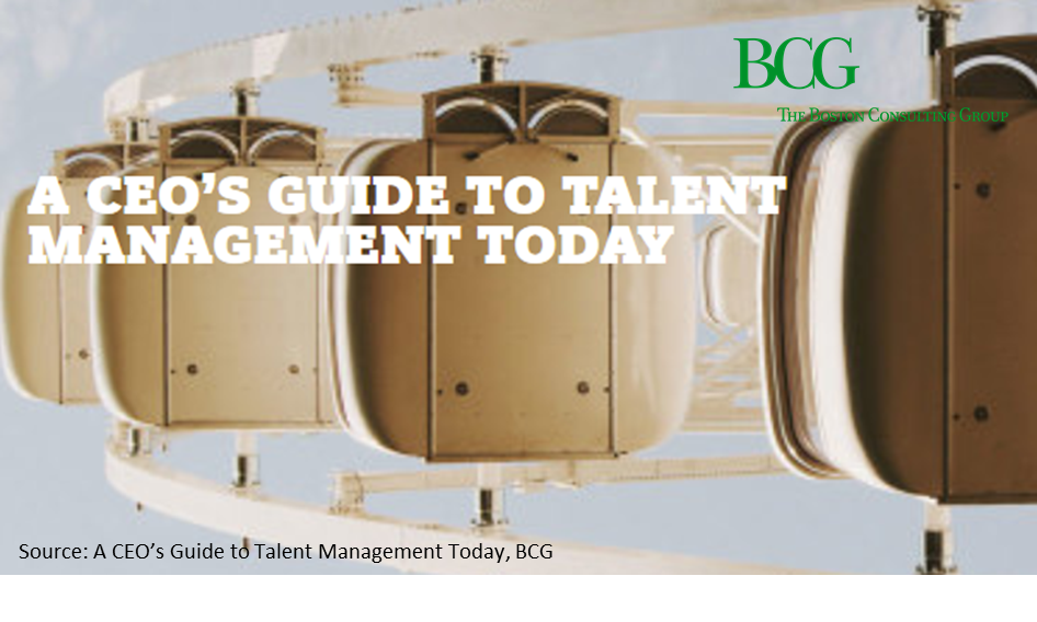 BCG - A CEO's Guide to Talent Management Today   Technology and automation seem to be at the top of every CEO's agenda. BCG says that this is all meaningless unless you have the right talent that knows how to strategly use these technologies.