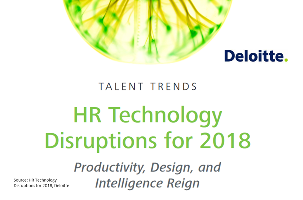 DELOITTE - HR Technology Disruptions for 2018   In this report Deloitte looks at the    top 10 disruptions in the HR technology market that will shake the HR environment in the years to come. The report focuses on the HR technologies available.