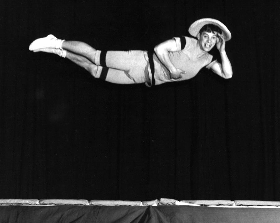 Bouncing Jester on Trampoline