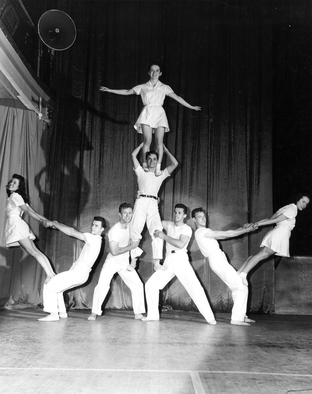 1947 Ground Pyramids left to right top to bottom - Augusta Johnson, Ted Smith, Patsy Welty, Lee Schick, A.C. Moore, William Foland, Wilbur Ehatt, and Peggy Welty.jpg