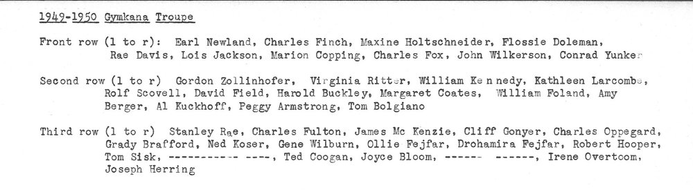 1950 Troupe roster