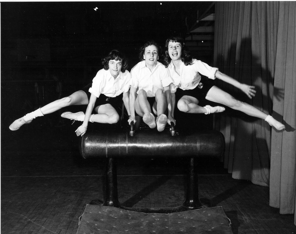 1948 - 'The Equestriennes' (Side Horse Vaulting) l to r Honor Koenig, Helene Brannock and Johnsie Wright.jpg