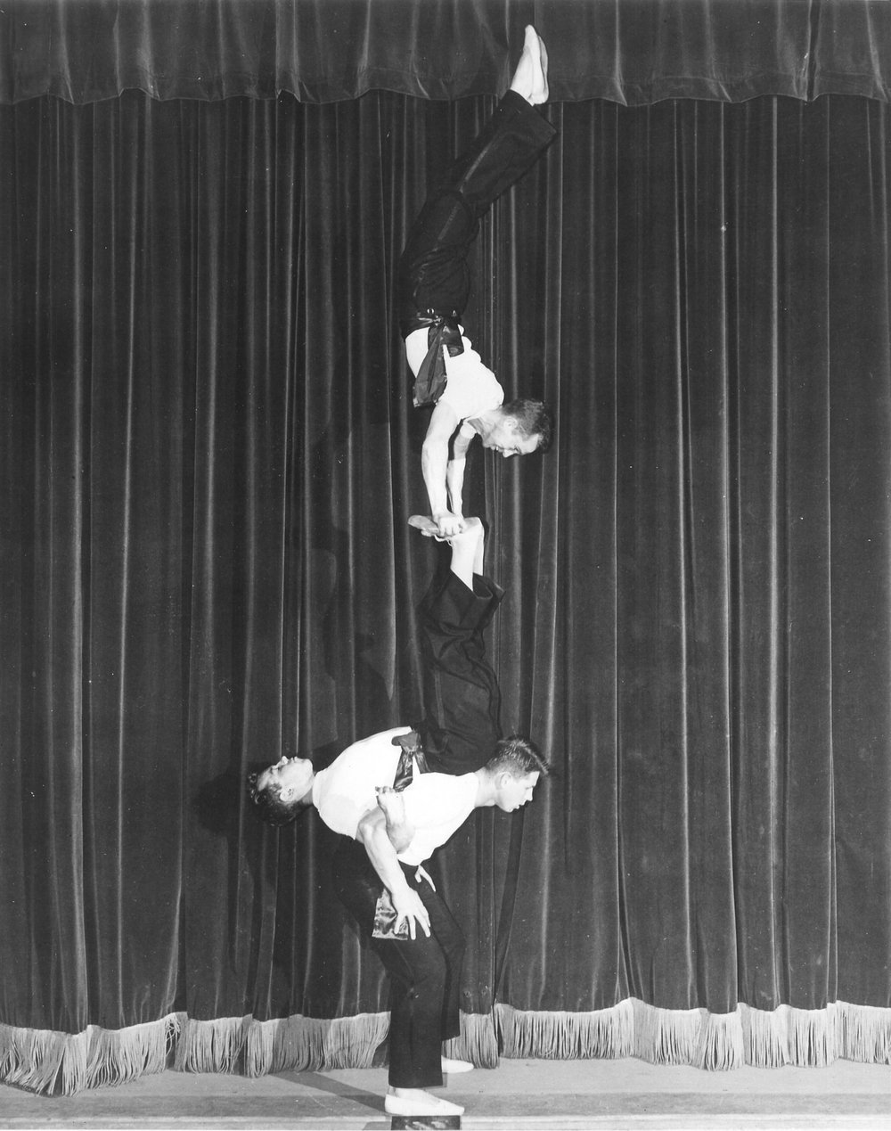 """The Equilibrists"" - 1949 Gymkana men's triples balancing with William Harris, Harold Buckley and David Field"
