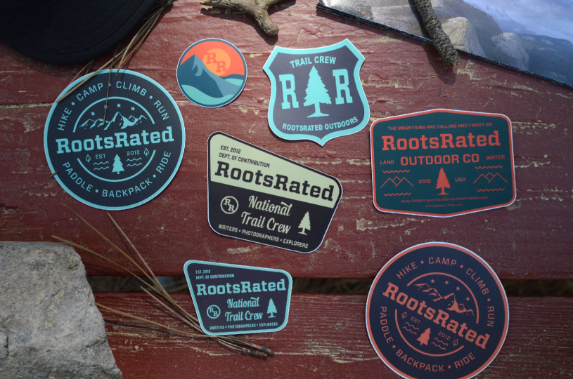 Lifestyle stickers printed and designed for RootsRated