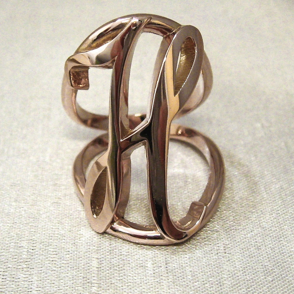 Rose Gold Initial H Ring.