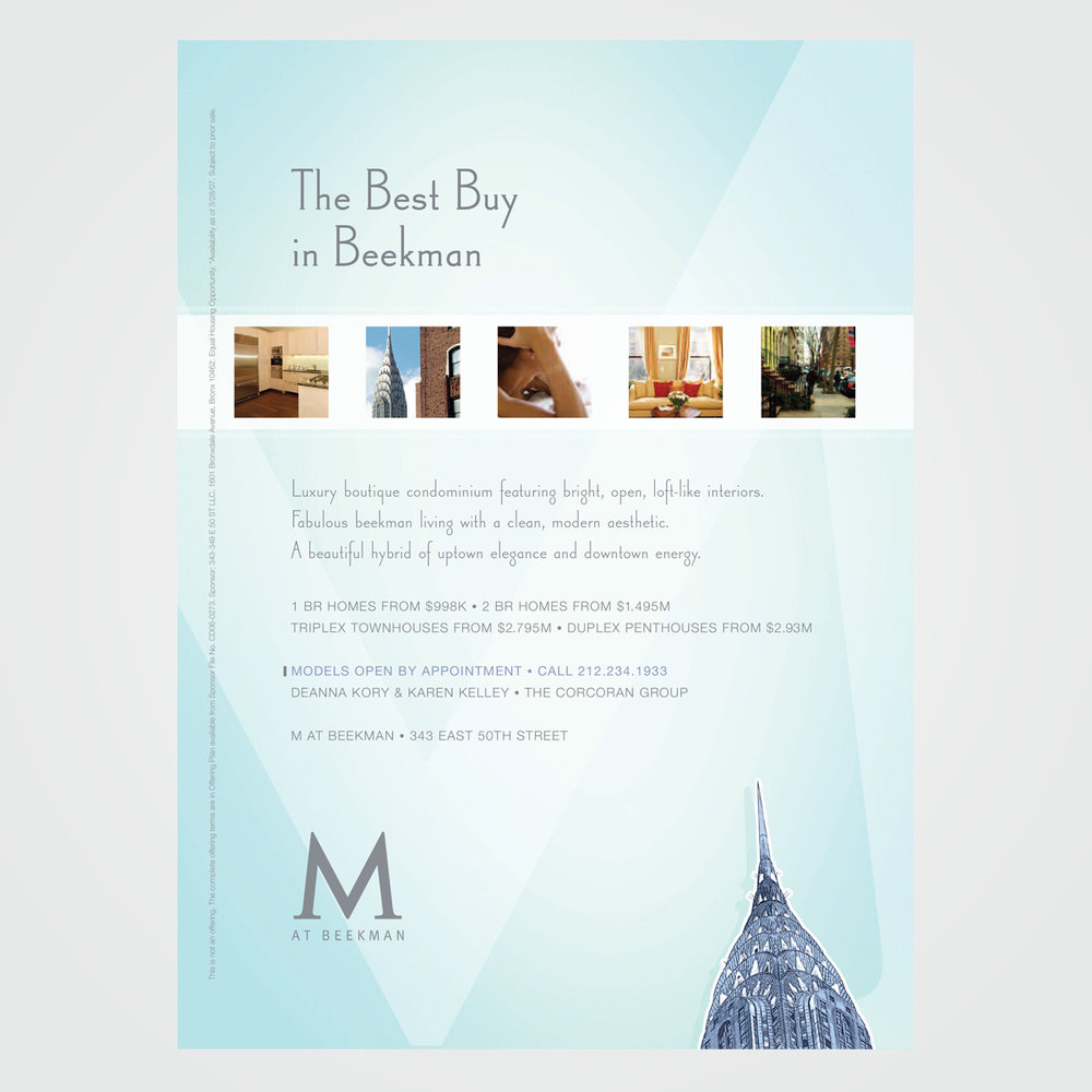 Magazine ad design for M at Beekman, a residential real estate project in New York City
