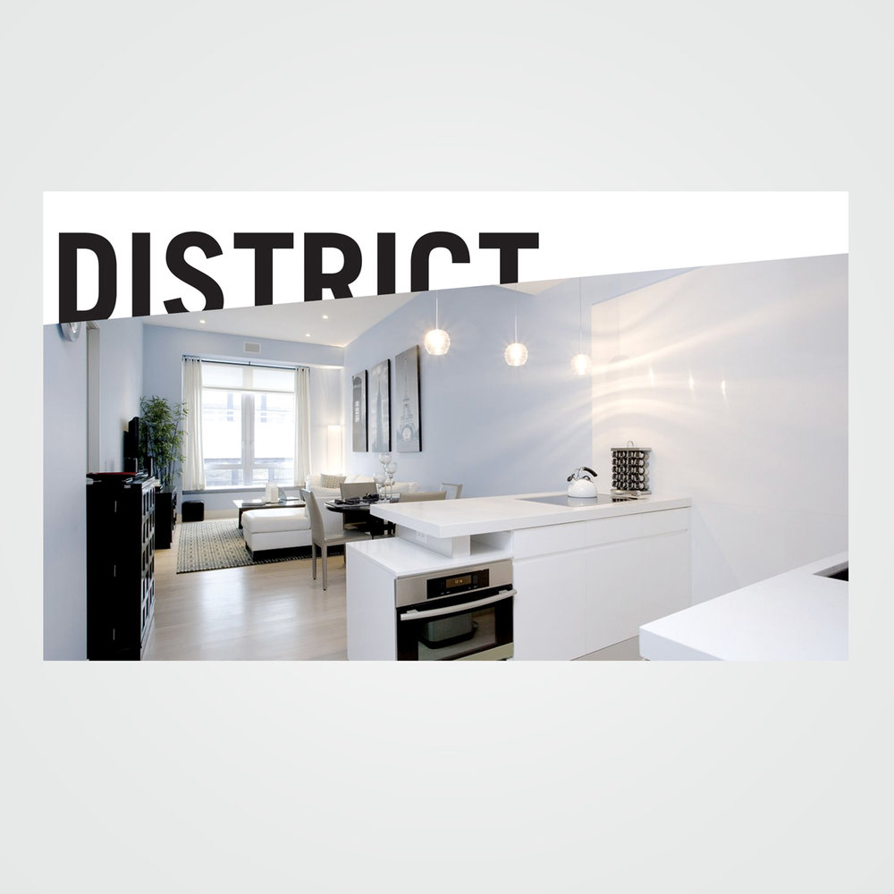 Real estate e-mail marketing header graphic for District NYC