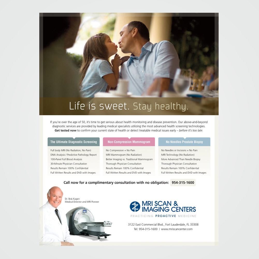 Proposed magazine ad design for MRI Scan & Imaging Center, Fort Lauderdale